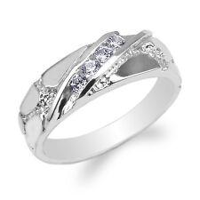 JamesJenny 10K White Gold Round CZ Unique Pattern Wedding Band Ring Size 4-10