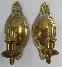 Vintage Solid Brass Wall Sconces Candle Holders Pair/Lot of 2