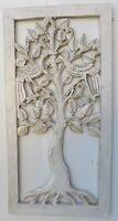 Pannello albero della vita in legno mdf traforato cm 60x30  bianco oro argento