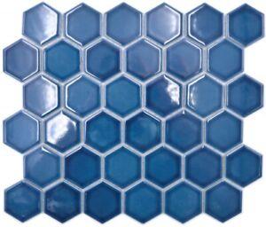 Ceramic Mosaic Hexagon Blue Green Shiny Mosaic Tiles Wall Mirror Tiles Kitchen