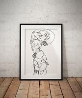 Egon Schiele Nude print, poster, prints, posters, watercolour, wallart, gift,