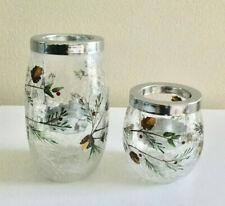 Yankee Candle Winter Treasures Votive Tealight Holder Set Crackle Glass NEW
