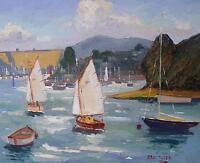 Eric Ward Original Oil Painting - Percuil River Roseland Peninsula Cornwall