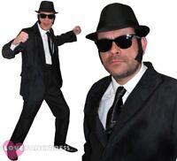 MENS 1980'S BLUES COSTUME BLACK SUIT HAT GLASSES TIE SIDEBURNS FILM FANCY DRESS