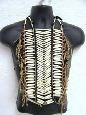 Genuine Buffalo Bone & Glass Bead Breastplate 40 row Breast Plate - White/Red