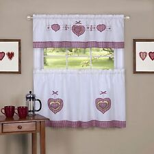 Gingham Hearts Embellished Tier and Valance Window Curtain Set red / white