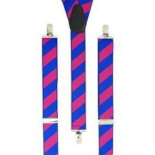 Blue Pink Rugby Stripes Clip On Trouser Braces Elastic Suspenders Handmade UK