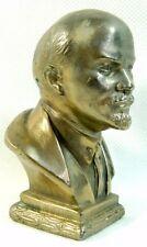 Vladimir Lenin Vintage Cast Metal Bust Sculpture Signed 1955, 9.5 cm