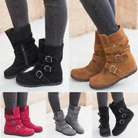 US Women's Winter Boots Snow Warm  Insulated Waterproof Midi Calf Ski Shoes Size