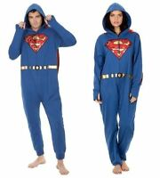 DC COMIC SUPERMAN COSTUME LOUNGER ADULT XMAS PAJAMAS CAPE UNION SUIT COSPLAY NEW