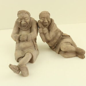 Pair Resin Sleeping Friar Figures- England - Decorative or Bookends - 13cm Tall