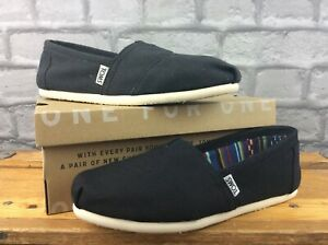 TOMS LADIES CLASSIC SLIP BLACK CANVAS SLIP ON FLAT SHOES RRP £40 MANY SIZES T