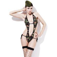 Sexy Fever Army Commando Camo Bodysuit Womens Ladies Fancy Dress Costume