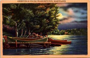 CHARLESTOWN MARYLAND WATER CANOE MOON SCENE GREETING POSTCARD