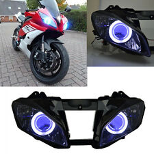 Headlight Assembly HID+White Angel+Blue Demon Eyes for Yamaha YZF R6 2008-2014 #