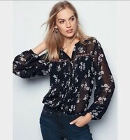 BNWT🌹Next🌹Size 8 Black Ditsy Pleated Floral Blouse Top Small