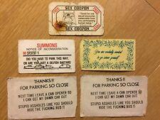 Vintage Novelty Gag Cards Coupons - Parking Sex Etc