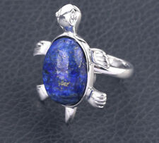 R985F Ring Silve Plated with Lapislazuli Blue Turtle Adjustable Size