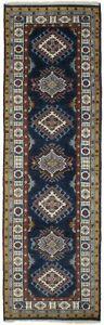 Tribal Geometric Navy Kazak 2'5X8 Oriental Runner Rug Handmade Hallway Carpet