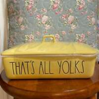 Rae Dunn Yellow That's All Yolks Easter Serving Dish With Lid