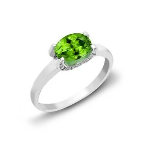 Peridot and Diamond Ring 18ct White Gold Solitaire Engagement Certificate