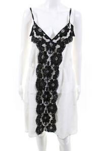 Marc Jacobs Womens Lace Trim Spaghetti Strap V Neck Slip Dress White Silk Size 6