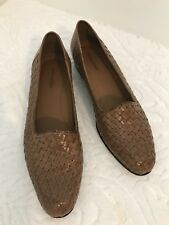 Naturalizer Brown Basket Weave Leather Slip On Shoes Made In Brazil Size 10N