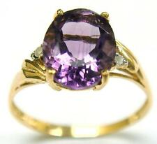 HOT 10KT YELLOW GOLD OVAL CUT AMETHYST & DIAMOND RING SIZE 7   R1013
