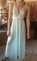 Vtg Olga Pale Mint Blue Green Lace Nightgown M #9626 Soft Nylon Negligee Short