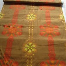 50cm x 132cm Vintage cotton Fabric 1960s Orange Yellow Upholstery Canvas Retro