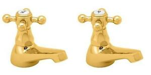 Deva TUD01/501 Tudor Traditional Gold Bathroom Basin Taps (pair)