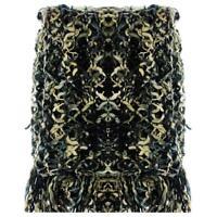SABIRA $169 Beige Brown Black Boucle FRINGED Blanket Throw Bedding 64 X 72 NWT