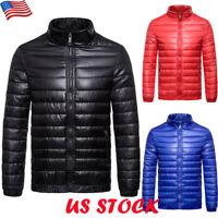 Mens Packable Down Jacket Ultralight Waterpoof Coat Winter Zipper Puffer Outwear