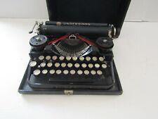 VINTAGE 1920s Black Underwood Standard miniature WHITE KEYS Portable Typewriter