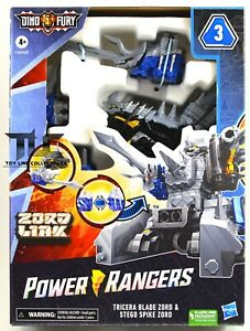 Power Rangers Dino Fury Tricera Blade & Stego Spike Zord Linx Figure MISB 2021