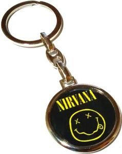 NIRVANA Smiley Logo Metal Round Double Sided Keyring Keychain Rock Merchandise