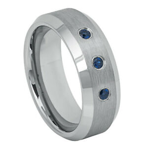 Men 8MM Tungsten Carbide Band Beveled Edge 0.21ct Blue Sapphire Brushed Ring