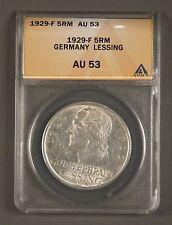 1929-F Weimar Germany 5 ReichsMark ANACS AU53 KM# 61 200th Anniv Lessing