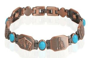 Copper Magnetic Turquoise Stone Bracelet Arthritis Pain Relieve Native American