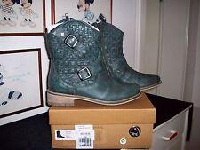 Feud Britannia Stiefeletten Schuhe Boots Stiefel PETROL Gr.38 Leder IMPRESSIONEN
