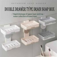2-Way Quick-Drying Adhesive Soap Holder Double Layer Draining Soap Adjust Holder