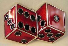 2 Red Dice Belt Buckle Casino Gambling Vegas Craps Dice fix to your own belt new
