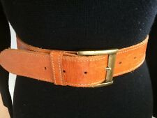BELT M 30/76 Genuine Leather embossed Brown brass buckle vintage hipster boho