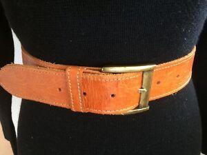 Vintage Caramel Brown Leather BELT M 76cm embossed pattern brass buckle boho