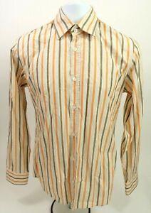 HUGO BOSS Mens Slim Fit Long Sleeve Dress Shirt Size Medium M orange stripes 730