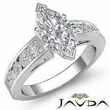 Natural Marquise Cut Diamond Channel Engagement Ring GIA G SI1 Platinum 1.75 ct