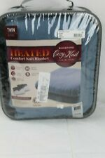 "Biddeford Home Heated Comfort Knit Soft Fleece Bed Blanket TWIN 62"" x 84""Blue"