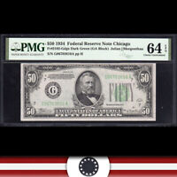 1934 $50 CHICAGO FRN Federal Reserve Note  PMG 64 EPQ  Fr 2102-Gdgs G06703610A