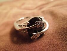 Sterling Silver Onyx & Diamond Shooting Star / Star-Crossed Lovers Ring, Size 8
