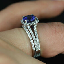 2.50 Carat Blue Sapphire 14k Real White Gold Bridal Set Wedding Engagement Ring